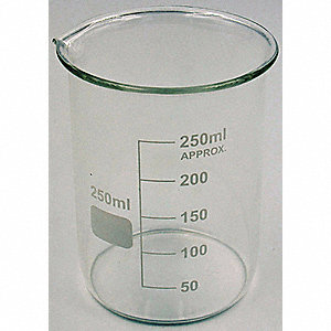 Glass Beaker, Low Form, 50 to 250mL, 12 PK