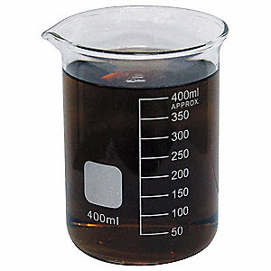 Beaker, Low Form, Glass, Capacity: 400mL, Graduation Subdivisions: 50ml