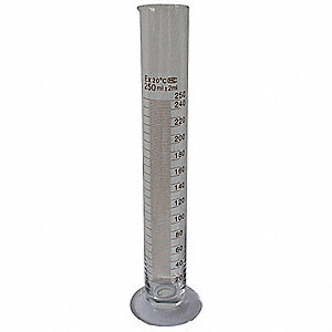 "10 to 250mL Glass Graduated Cylinder, Clear, Height: 310mm / 12.2"", 6 PK"