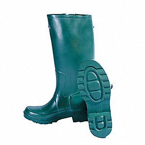 "16""H Men's Knee Boots, Plain Toe Type, Rubber Upper Material, Green, Size 11"