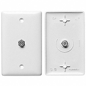 VIDEO WALL PLATE AND JACK,F TYPE,WH