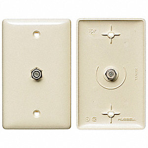 Light Almond Video Wall Plate and Jack, Plastic, Number of Gangs: 1