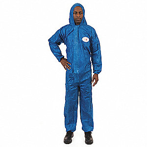 Hooded Chemical Resistant Coveralls with Elastic Cuff, Blue, L, Viroguard®