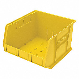 "Hang and Stack Bin, Yellow, 18"" Outside Length, 16-1/2"" Outside Width, 11"" Outside Height"