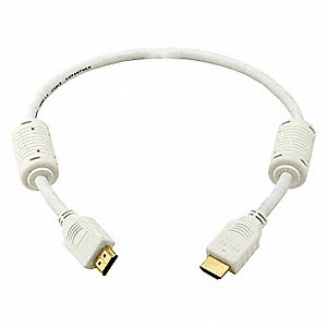 HDMI Cable,Std Speed,White,1.5ft,28AWG