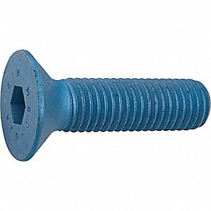 M12-1.75 x 25mm, Flat, Socket Head Cap Screw, Alloy Steel, Steel, Metric Blue Finish, 10PK