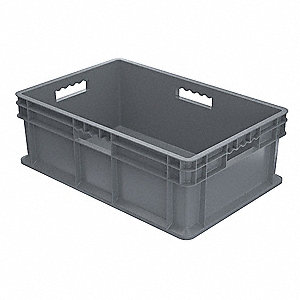 "Straight Wall Container, Gray, 8-1/4""H x 23-3/4""L x 15-3/4""W, 1EA"