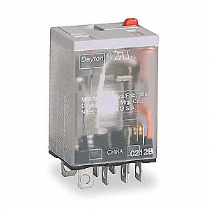 240VAC, 8-Pin Square Base General Purpose Plug-In Relay; AC Contact Rating: 15A @ 240V