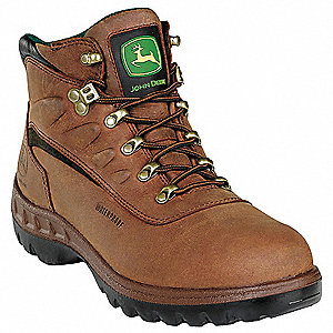 "5""H Men's Work Boots, Steel Toe Type, Leather Upper Material, Tan, Size 11-1/2M"