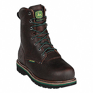 "8""H Men's Work Boots, Steel Toe Type, Leather Upper Material, Dark Brown, Size 8M"