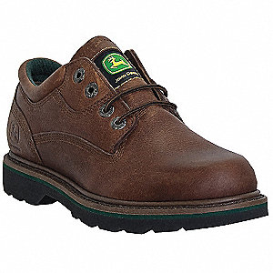 "3""H Men's Work Shoes, Steel Toe Type, Leather Upper Material, Walnut, Size 9-1/2W"