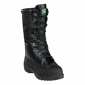"12""H Men's Work Boots, Steel Toe Type, Leather and Nylon Mesh Upper Material, Black, Size 11W"