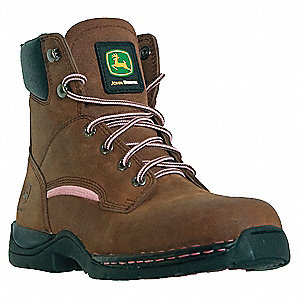 "6""H Women's Work Boots, Steel Toe Type, Leather Upper Material, Brown, Size 9-1/2M"