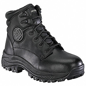 "6""H Men's Athletic Style Work Boots, Steel Toe Type, Leather Upper Material, Black, Size 9-1/2"