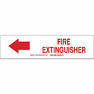 Fire Extinguisher Sign,7 x 10In,R/WHT