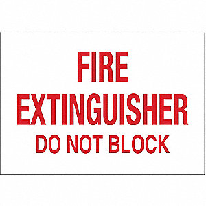 Fire Extinguisher Sign,10 x 14In,R/WHT