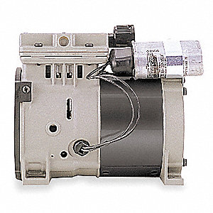 1/3 HP Piston Air Compressor/Vacuum Pump, 115VAC, 100/100 Max. PSI Cont./Int.
