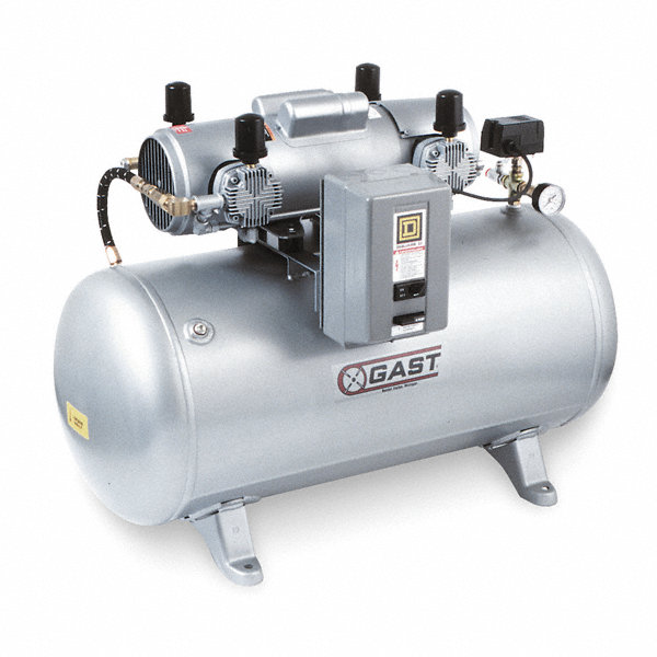 Gast 1 phase electrical horizontal tank mounted for Gast air motor distributors