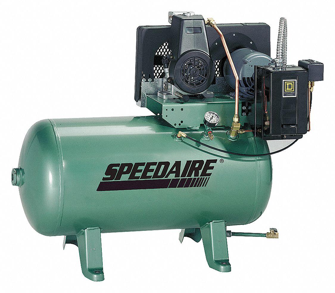 SPEEDAIRE 1 Phase - Electrical Horizontal Tank Mounted 0.75HP - Air  Compressor Stationary Air Compressor, 30 g - 5Z696 5Z696 - Grainger