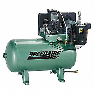 1 HP,  30 gal. Horizontal Pressure Lubricated Tank Mounted Electric Air Compressor, CFM: 3.4