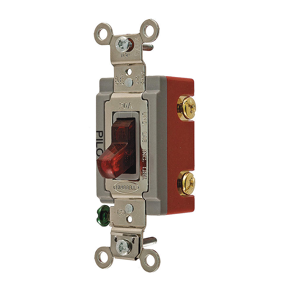 HUBBELL WIRING DEVICE-KELLEMS Pilot Light Wall Switch, Switch Type ...