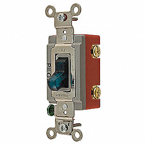Pilot Light Wall Switch, Switch Type: 1-Pole, Switch Function: Maintained, Style: Toggle