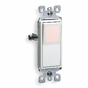 Illuminated Wall Switch, Switch Type: 1-Pole, Switch Function: Maintained, Style: Rocker