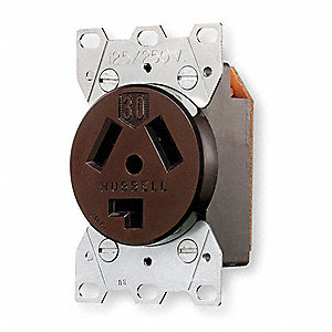 Receptacle, 30 Amps, 125/250VAC Voltage, NEMA Configuration: 10-30R, Number of Poles: 3