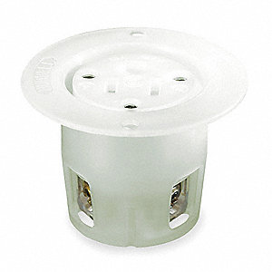 Flanged Receptacle, 15 Amps, 125VAC Voltage, NEMA Configuration: 5-15R, Number of Poles: 2