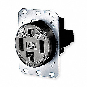 Receptacle, 30 Amps, 125/250VAC Voltage, NEMA Configuration: 14-30R, Number of Poles: 3