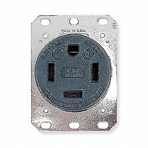 60A Industrial Environments Receptacle, Black; Tamper Resistant: No