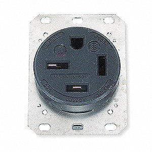 Receptacle,Single,50A,15-50R,250V,Black
