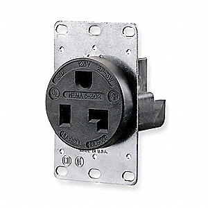 30A Industrial Environments Receptacle, Black; Tamper Resistant: No