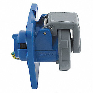 Blue Watertight Pin and Sleeve Receptacle, 100 Amps, 3 Phase, Number of Poles: 3, Number of Wires: 4