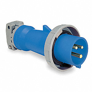 IEC Pin and Sleeve Plug, Blue, 20 Amps, Number of Poles: 2, Number of Wires: 3
