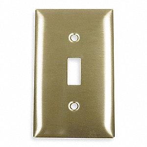Toggle Switch Wall Plate, Brass, Number of Gangs: 1, Weather Resistant: No