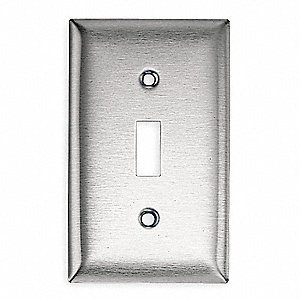 Toggle Switch Wall Plate, Silver, Number of Gangs: 1, Weather Resistant: No