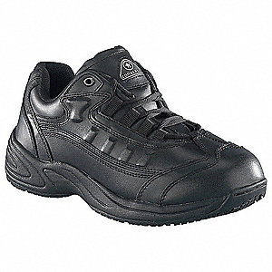 "4""H Men's Athletic Style Work Shoes, Plain Toe Type, Leather Upper Material, Black, Size 7"