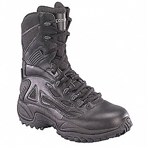 "8""H Men's Tactical Boots, Plain Toe Type, Leather and Cordura® Nylon Upper Material, Black, Size 11"