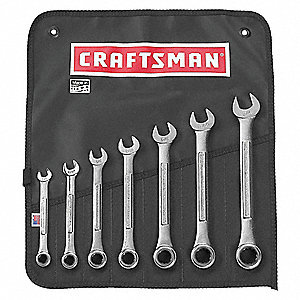 SAE High Access Ratcheting Wrench Set, 7 Number of Pieces