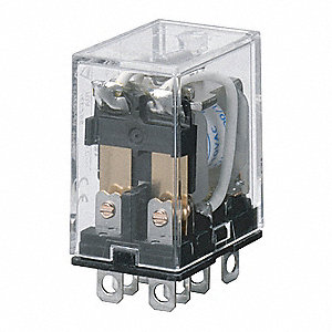 24VDC, 8-Pin Square Base General Purpose Plug-In Relay; AC Contact Rating: 10A @ 120V