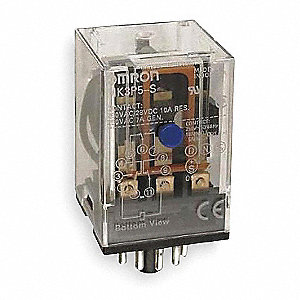 Plug-In Relay, 11 Pins, Octal Base Type, 10A @ 250VAC/30VDC Contact Rating, 12VDC Coil Volts