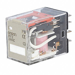 Plug-In Relay, 8 Pins, Square Base Type, 5A @ 250VAC/30VDC Contact Rating, 24VAC Coil Volts