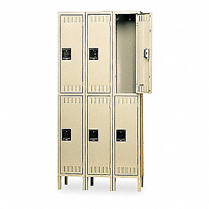 Wardrobe Locker,Lvrd,3 Wide, 2 Tier,Sand