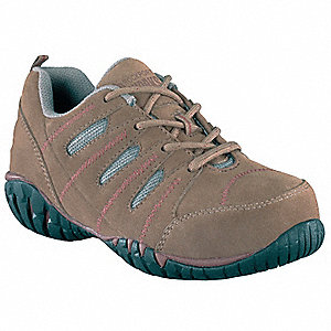 "4""H Women's Work Shoes, Composite Toe Type, Suede Upper Material, Taupe/Tan/Mauve, Size 8-1/2"