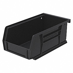 "ESD Conductive Bin, Black, 7-3/8"" Outside Length, 4-1/8"" Outside Width, 3"" Outside Height"