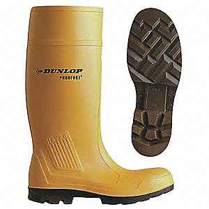 "16-1/4""H Men's Knee Boots, Steel Toe Type, Polyurethane Upper Material, Yellow, Size 14"