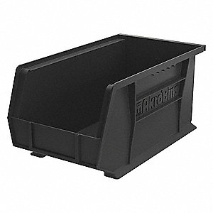 "ESD Conductive Bin, Black, 14-3/4"" Outside Length, 8-1/4"" Outside Width, 7"" Outside Height"