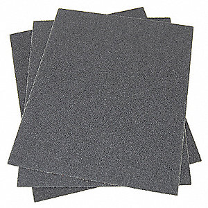 "Very Fine Silicon Carbide Sanding Sheet, 320 Grit, 11"" L X 9"" W, Backing Weight : J, 50 PK"