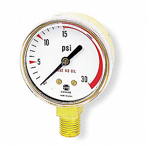 "Pressure Gauge, Welding Regulator Gauge Type, 0 to 30 psi Range, 2"" Dial Size"